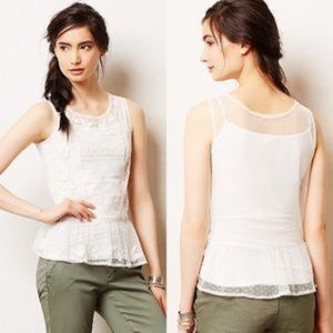 Anthropologie NAVY Cypress Embroidered Mesh Top L